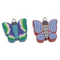 Polymer Ton Anhänger, mit Eisen Stiftöse, Schmetterling, handgemacht, gemischte Farben, 23x25x5mm, Bohrung:ca. 3.5mm, 100PCs/Tasche, verkauft von Tasche