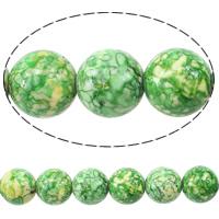 Regen Blumen Stein Perlen, rund, natürlich, grün, 14mm, Bohrung:ca. 1.2mm, Länge:ca. 16 ZollInch, 10SträngeStrang/Menge, ca. 29PCs/Strang, verkauft von Menge