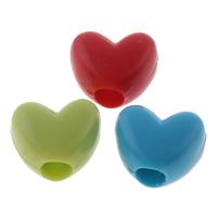 Volltonfarbe Acryl Perlen, Herz, gemischte Farben, 12x10x7mm, Bohrung:ca. 4mm, ca. 1110PCs/Tasche, verkauft von Tasche