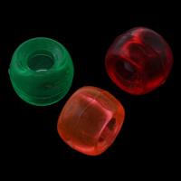 Transparente Acryl-Perlen, Acryl, Trommel, gemischte Farben, 9x6mm, Bohrung:ca. 4mm, ca. 1800PCs/Tasche, verkauft von Tasche