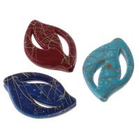 Filigrane Acrylperlen, Acryl, Blatt, Volltonfarbe, gemischte Farben, 17x25x4mm, Bohrung:ca. 1mm, ca. 590PCs/Tasche, verkauft von Tasche