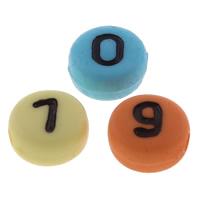 Anzahl Acrylkorn, Acryl, mit einem Muster von Nummer & gemischt, 7x4mm, Bohrung:ca. 1mm, ca. 3600PCs/Tasche, verkauft von Tasche