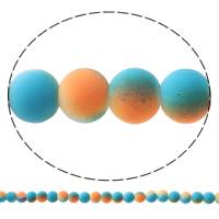 Glas Perle, rund, gummierte & zweifarbig, keine, 8mm, Bohrung:ca. 1mm, Länge:ca. 31.5 ZollInch, 10SträngeStrang/Tasche, ca. 52PCs/Strang, verkauft von Tasche