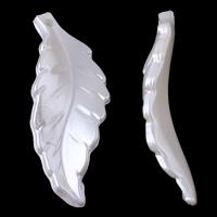 ABS-Kunststoff-Perlen Anhänger, Blatt, weiß, 14x40x5mm, Bohrung:ca. 1mm, ca. 550PCs/Tasche, verkauft von Tasche
