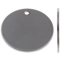 Edelstahl Etikette, flache Runde, Lasermuster & Kundenindividuell, originale Farbe, 20x20x1mm, Bohrung:ca. 1.5mm, 10PCs/Tasche, verkauft von Tasche