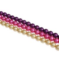 Perlmuttartige Glasperlen, rund, verschiedene Größen vorhanden, keine, Bohrung:ca. 1mm, verkauft von Tasche