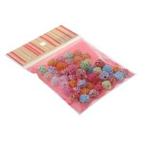 Chemische Wash Acryl Perlen, mit OPP, Blume, chemische-Waschanlagen, gemischte Farben, 13x12mm, 100x170mm, Bohrung:ca. 1.5mm, ca. 50PCs/Tasche, verkauft von Tasche