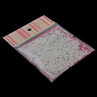 ABS-Kunststoff-Perlen Perle, mit OPP, rund, kein Loch, weiß, 5mm, 100x170mm, ca. 420PCs/Tasche, verkauft von Tasche