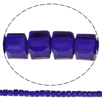 Kubische Kristallperlen, Kristall, Würfel, facettierte, mehrere Farben vorhanden, 6x6x6mm, Bohrung:ca. 1mm, Länge:ca. 22.4 ZollInch, 5SträngeStrang/Tasche, ca. 95PCs/Strang, verkauft von Tasche