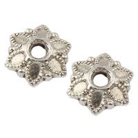 Zinklegierung Perlenkappe, Blume, antik silberfarben plattiert, frei von Nickel, Blei & Kadmium, 7x7x2mm, Bohrung:ca. 1mm, ca. 4000PCs/kg, verkauft von kg