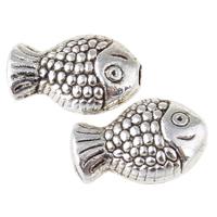 Zinklegierung Tier Perlen, Fisch, antik silberfarben plattiert, frei von Nickel, Blei & Kadmium, 10x6.50x3.50mm, Bohrung:ca. 0.5mm, ca. 1639PCs/kg, verkauft von kg