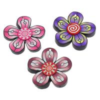 Polymer Ton Anhänger, Blume, handgemacht, gemischte Farben, 49x7mm, Bohrung:ca. 1.5mm, 100PCs/Tasche, verkauft von Tasche