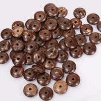 Kokosrinde Zwischenperlen, flache Runde, natürlich, buddhistischer Schmuck & verschiedene Größen vorhanden, frei von Nickel, Blei & Kadmium, Bohrung:ca. 1.5mm, 100PCs/Menge, verkauft von Menge