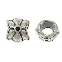 Messing Perlen Einstellung, Blume, silberfarben plattiert, großes Loch & Schwärzen, frei von Nickel, Blei & Kadmium, 10x10.50x8.50mm, Bohrung:ca. 5.5mm, Innendurchmesser:ca. 1.5mm, 200PCs/Menge, verkauft von Menge