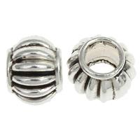 Zink Legierung Europa Perlen, Zinklegierung, Trommel, antik silberfarben plattiert, gewellt, frei von Nickel, Blei & Kadmium, 6x8mm, Bohrung:ca. 4mm, ca. 1190PCs/kg, verkauft von kg
