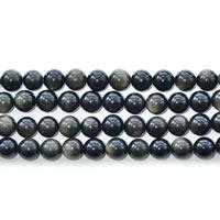 Schwarze Obsidian Perlen, Gold- Obsidian, rund, natürlich, verschiedene Größen vorhanden, Länge:ca. 15 ZollInch, verkauft von Menge