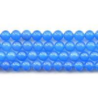 Natürliche blaue Achat Perlen, Blauer Achat, rund, verschiedene Größen vorhanden, Länge:ca. 15 ZollInch, verkauft von Menge