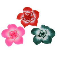 Polymer Ton Perlen , Blume, handgemacht, gemischte Farben, 30x10mm, Bohrung:ca. 1mm, 100PCs/Tasche, verkauft von Tasche