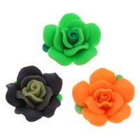 Polymer Ton Perlen , Blume, handgemacht, gemischte Farben, 30x15mm, Bohrung:ca. 1mm, 100PCs/Tasche, verkauft von Tasche