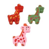 Holz Anhänger, Giraffe, Kunstdruck, gemischte Farben, 23x32x5mm, Bohrung:ca. 2mm, ca. 710PCs/Tasche, verkauft von Tasche
