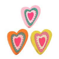 Holzperlen, Holz, Herz, Kunstdruck, gemischte Farben, 21x25x5mm, Bohrung:ca. 2mm, ca. 500PCs/Tasche, verkauft von Tasche