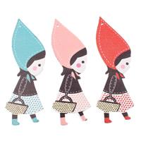 Holz Anhänger, Mädchen, Kunstdruck, gemischte Farben, 38x88x3mm, Bohrung:ca. 1.5mm, 200PCs/Tasche, verkauft von Tasche