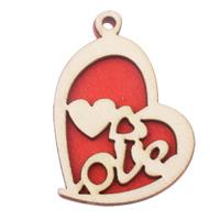 Holz Anhänger, Herz, Wort Liebe, rot, 33x44.50x4.50mm, Bohrung:ca. 3mm, 200PCs/Tasche, verkauft von Tasche