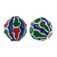 Imitation Cloisonne Zink Legierung Perlen, Zinklegierung, oval, Platinfarbe platiniert, Emaille, gemischte Farben, frei von Nickel, Blei & Kadmium, 9x10mm, Bohrung:ca. 2.5mm, 100PCs/Menge, verkauft von Menge