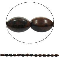 Mahagoni Obsidian Perlen, mahagonibrauner Obsidian, oval, natürlich, 10x15mm, Bohrung:ca. 1mm, 28PCs/Strang, verkauft per ca. 16.5 ZollInch Strang