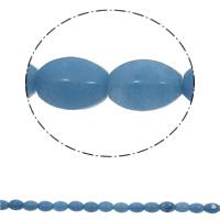 gefärbter Marmor Perle, oval, blau, 10x15mm, Bohrung:ca. 1mm, 28PCs/Strang, verkauft per ca. 15.7 ZollInch Strang