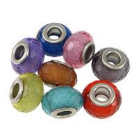 Kunststoff European Perlen, Trommel, Platinfarbe platiniert, Messing-Dual-Core ohne troll & facettierte & Silberpulver, keine, frei von Nickel, Blei & Kadmium, 9x14mm, Bohrung:ca. 5mm, 200PCs/Menge, verkauft von Menge