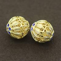 Sterling Silber Cloisonne Perlen, rund, vergoldet, verschiedene Größen vorhanden & hohl, verkauft von Menge