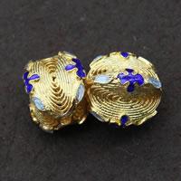 Sterling Silber Cloisonne Perlen, vergoldet, 15x12mm, Bohrung:ca. 1.5mm, 3PCs/Menge, verkauft von Menge