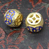 Sterling Silber Cloisonne Perlen, Trommel, vergoldet, hohl, 10x13mm, Bohrung:ca. 2mm, 3PCs/Menge, verkauft von Menge