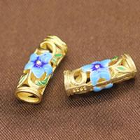 Sterling Silber Cloisonne gebogene Rohr Perlen, vergoldet, hohl, 7x17mm, Bohrung:ca. 3.5mm, 10PCs/Menge, verkauft von Menge