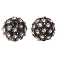 Strass Messing Perlen, rund, metallschwarz plattiert, mit Strass & hohl, frei von Nickel, Blei & Kadmium, 26mm, Bohrung:ca. 3mm, 5PCs/Tasche, verkauft von Tasche