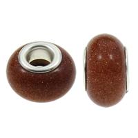 European Stil Edelsteinperlen, Goldsand, Rondell, natürlich, Messing-Dual-Core ohne troll, 8.5x14mm, Bohrung:ca. 5mm, 100PCs/Tasche, verkauft von Tasche
