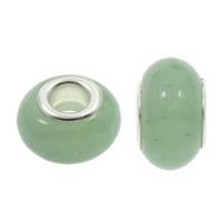 European Stil Edelsteinperlen, Grüner Aventurin, Rondell, natürlich, Messing-Dual-Core ohne troll, 8.5x14mm, Bohrung:ca. 5mm, 100PCs/Tasche, verkauft von Tasche
