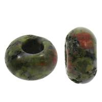 European Stil Edelsteinperlen, Rubin Zoisit, Rondell, ohne troll, 8x14mm, Bohrung:ca. 6mm, 100PCs/Tasche, verkauft von Tasche