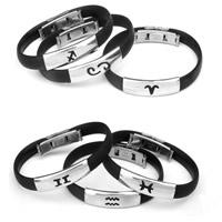 Silikon Armband, Edelstahl 316L Verschluss, Konstellation Schmuck & verschiedene Stile für Wahl, schwarz, 8mm, verkauft per ca. 7 ZollInch Strang