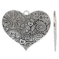 Zinklegierung Herz Anhänger, antik silberfarben plattiert, mit Blumenmuster, frei von Nickel, Blei & Kadmium, 58x54x2mm, Bohrung:ca. 4mm, verkauft von PC
