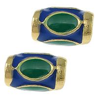 Imitation Cloisonne Zink Legierung Perlen, Zinklegierung, Zylinder, goldfarben plattiert, Emaille & zweifarbig, frei von Nickel, Blei & Kadmium, 9x6mm, Bohrung:ca. 3mm, 50PCs/Menge, verkauft von Menge
