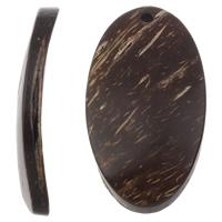 Kokosnuss Anhänger, Kokosrinde, flachoval, natürlich, originale Farbe, 25x47x6mm, Bohrung:ca. 3mm, 100PCs/Tasche, verkauft von Tasche