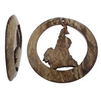 Kokosnuss Anhänger, Kokosrinde, flache Runde, natürlich, originale Farbe, 62x10mm, Bohrung:ca. 4mm, 50PCs/Tasche, verkauft von Tasche