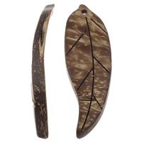 Kokosnuss Anhänger, Kokosrinde, Blatt, natürlich, originale Farbe, 17x50x6mm, Bohrung:ca. 1mm, 100PCs/Tasche, verkauft von Tasche