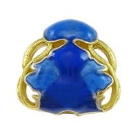 Glatte Cloisonné Perlen, Bläu, Doppelloch & hohl, frei von Nickel, Blei & Kadmium, 18x17x9mm, Bohrung:ca. 2mm, 10PCs/Menge, verkauft von Menge