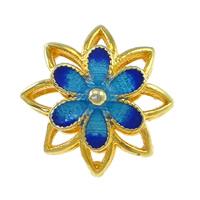 Glatte Cloisonné Perlen, Blume, Bläu, Mehrloch-, frei von Nickel, Blei & Kadmium, 13x13x8mm, Bohrung:ca. 2mm, 10PCs/Menge, verkauft von Menge