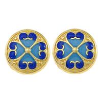 Glatte Cloisonné Perlen, flache Runde, Bläu, Doppelloch, frei von Nickel, Blei & Kadmium, 14x14x6mm, Bohrung:ca. 2mm, 10PCs/Menge, verkauft von Menge