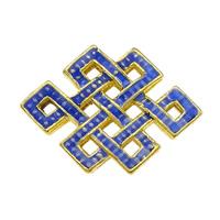 Glatte Cloisonné Perlen, Chinesischer Knoten, Bläu, hohl, frei von Nickel, Blei & Kadmium, 19x13x4mm, Bohrung:ca. 2x1.5mm, 10PCs/Menge, verkauft von Menge