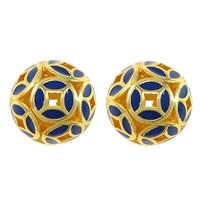 Glatte Cloisonné Perlen, rund, Bläu, kein Loch & hohl, frei von Nickel, Blei & Kadmium, 13mm, 10PCs/Menge, verkauft von Menge